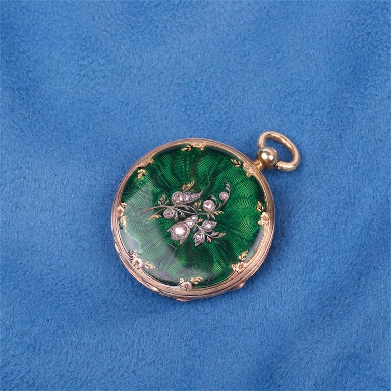 Gold enamel pocket watch