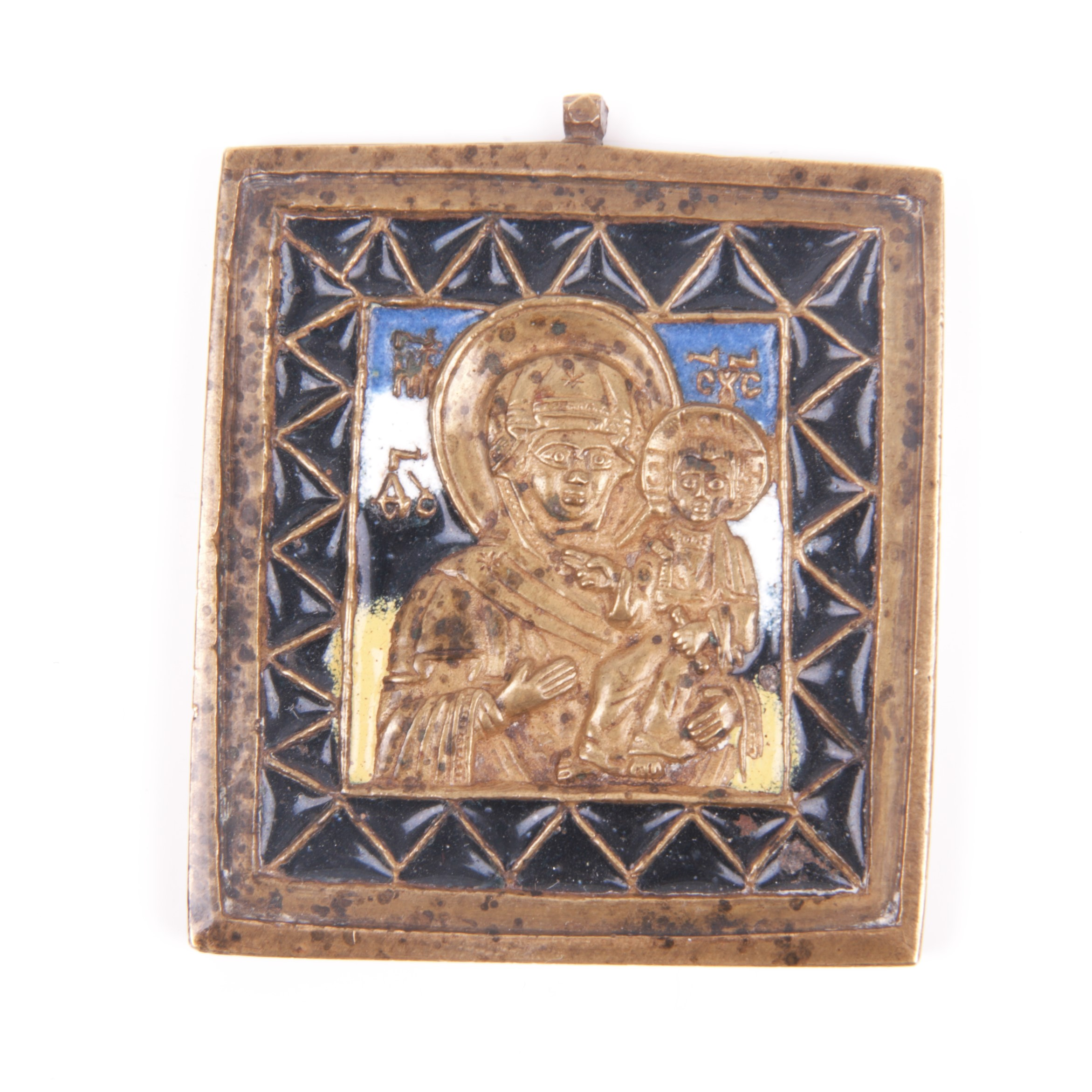 Small Russian brass plaquette icon
