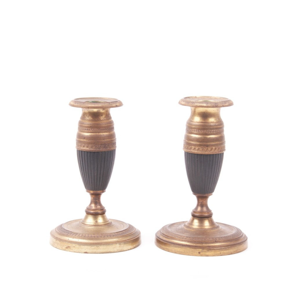 A Pair of Vintage Bronze Candlesticks