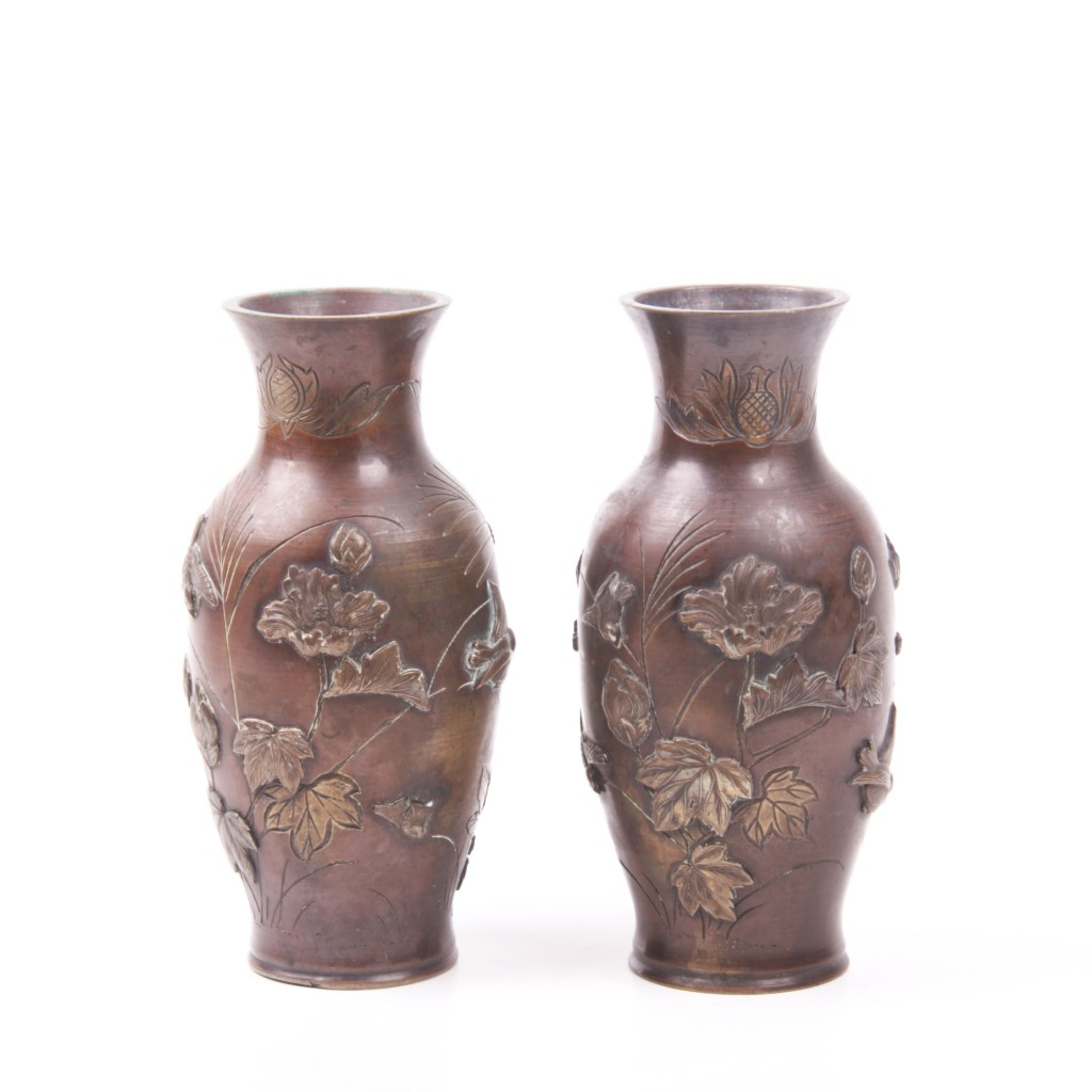 A Pair of Japanese Bronze Vases