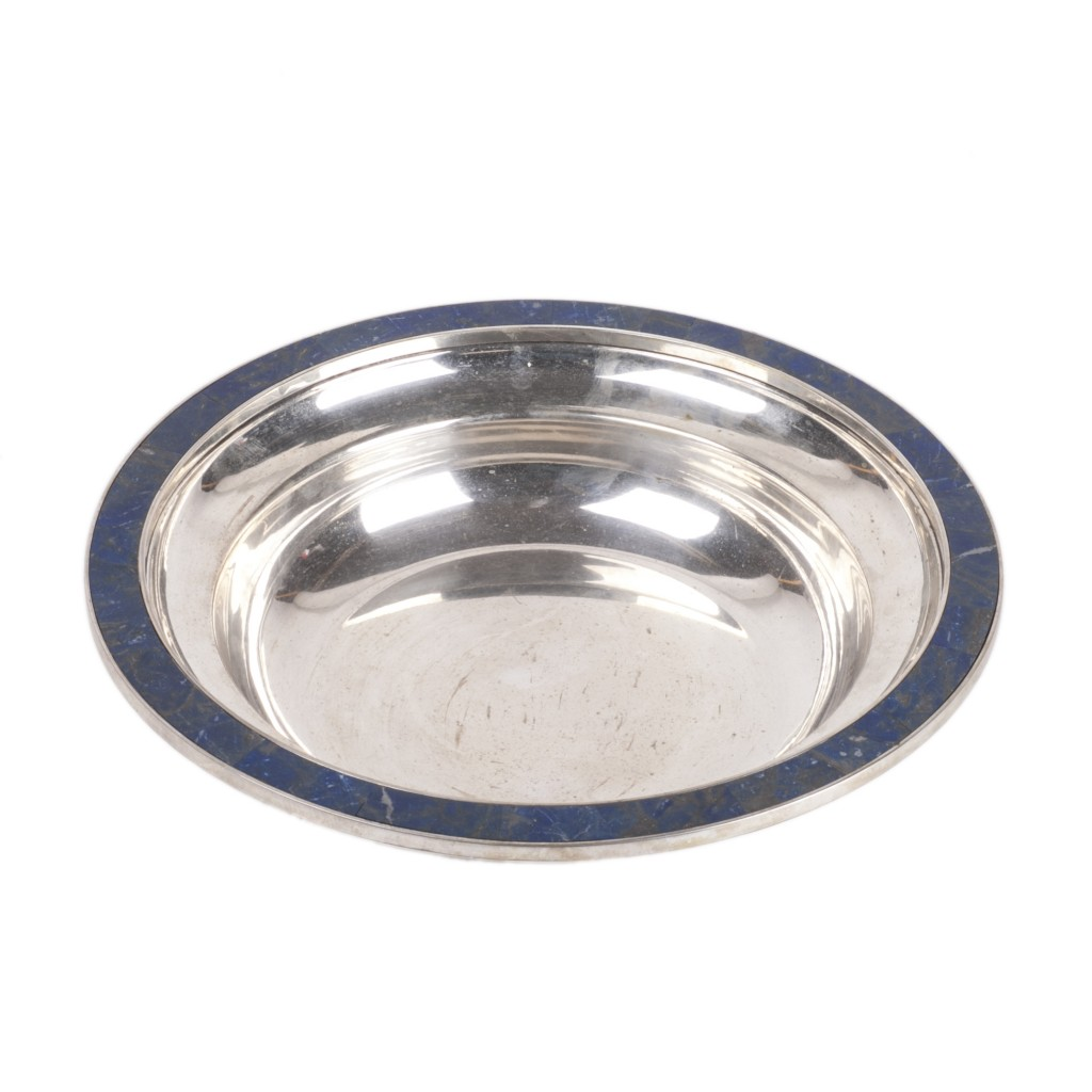 Antique Silver Tray with Lazurite Stone Encrusted