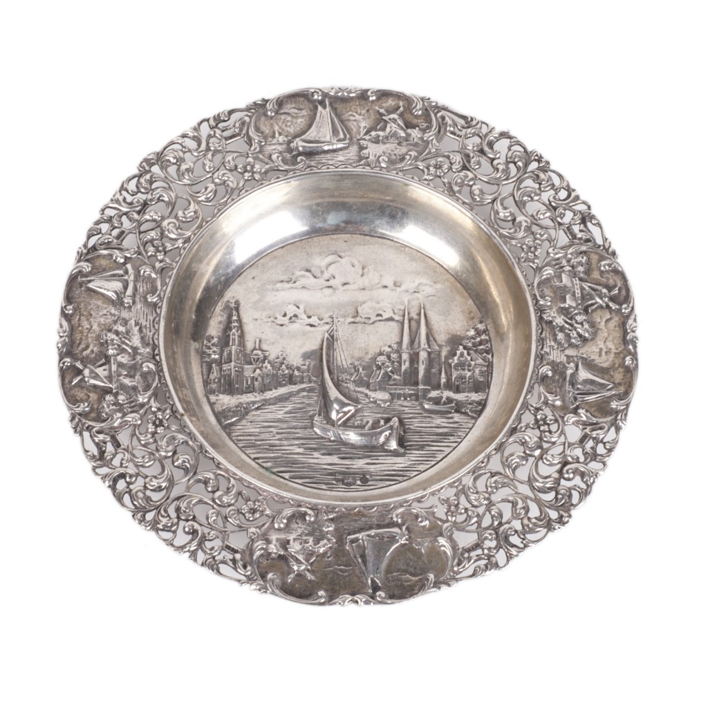 Dutch silver dish with a view of Delft City Canal