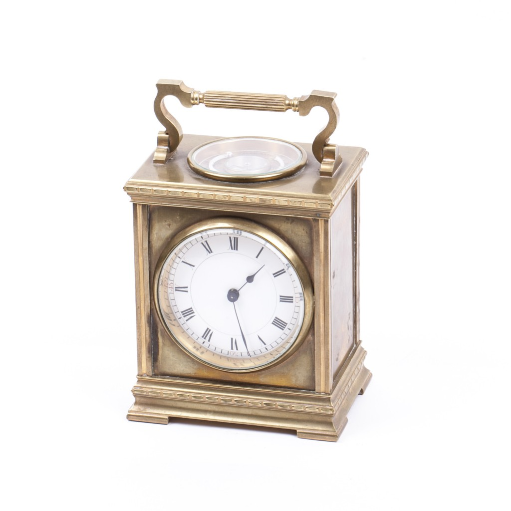 French Carriage Clock with Thermometer & Compass