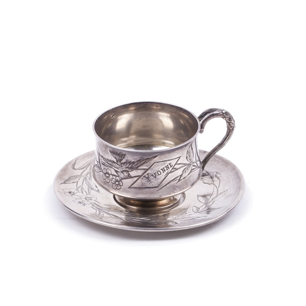 French Silver Cup with Saucer