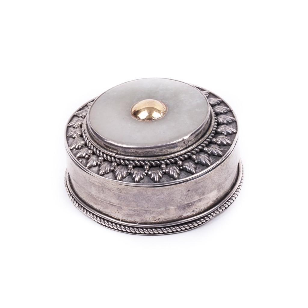 European Silver Snuff Box with Prehnite