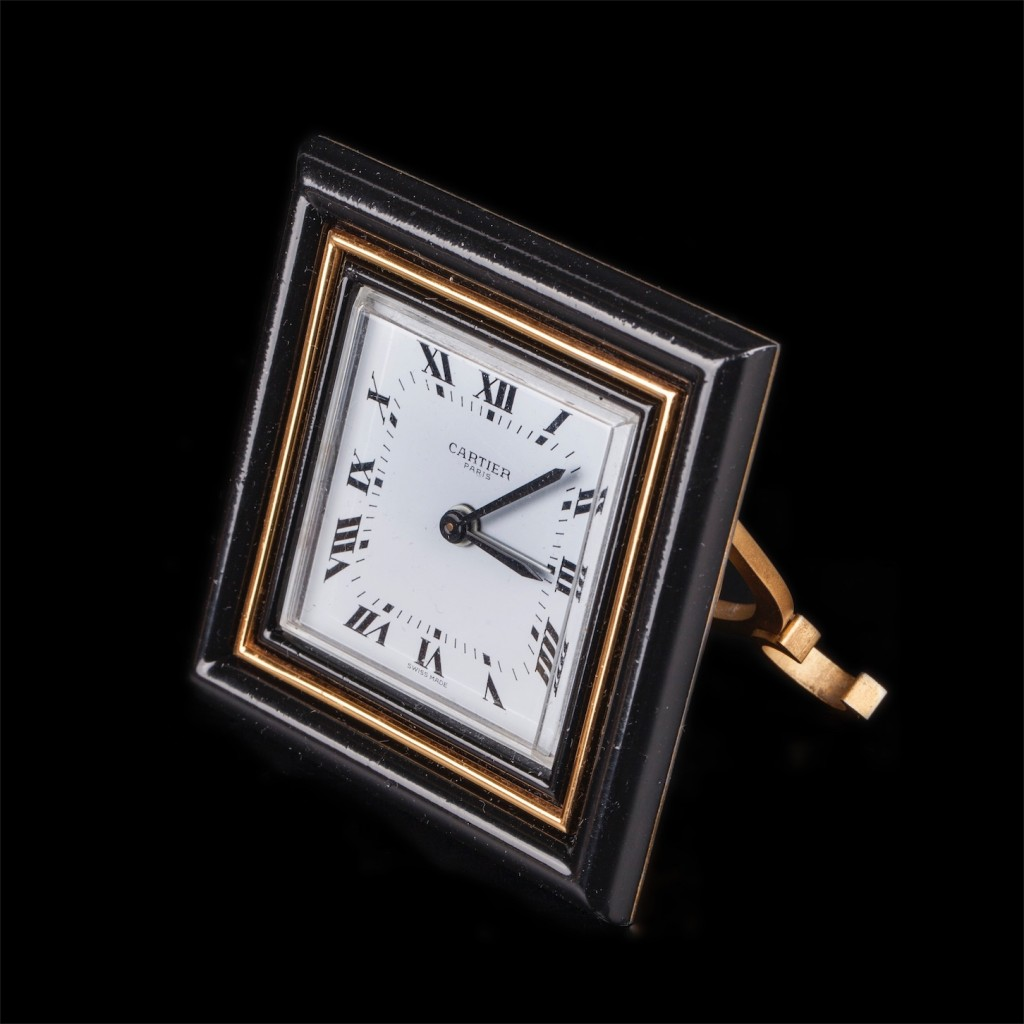 Vintage Cartier mechanical desk clock the square enameled dial