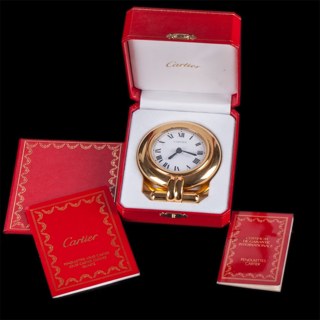 Authentic Cartier Pendulette Romane alarm clock.