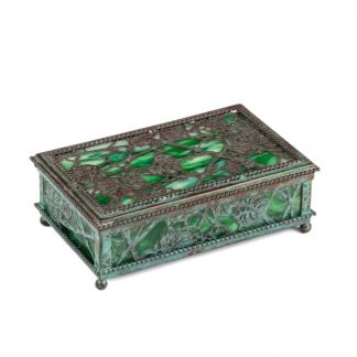 Tiffany box in a twisted carved metal with green glass