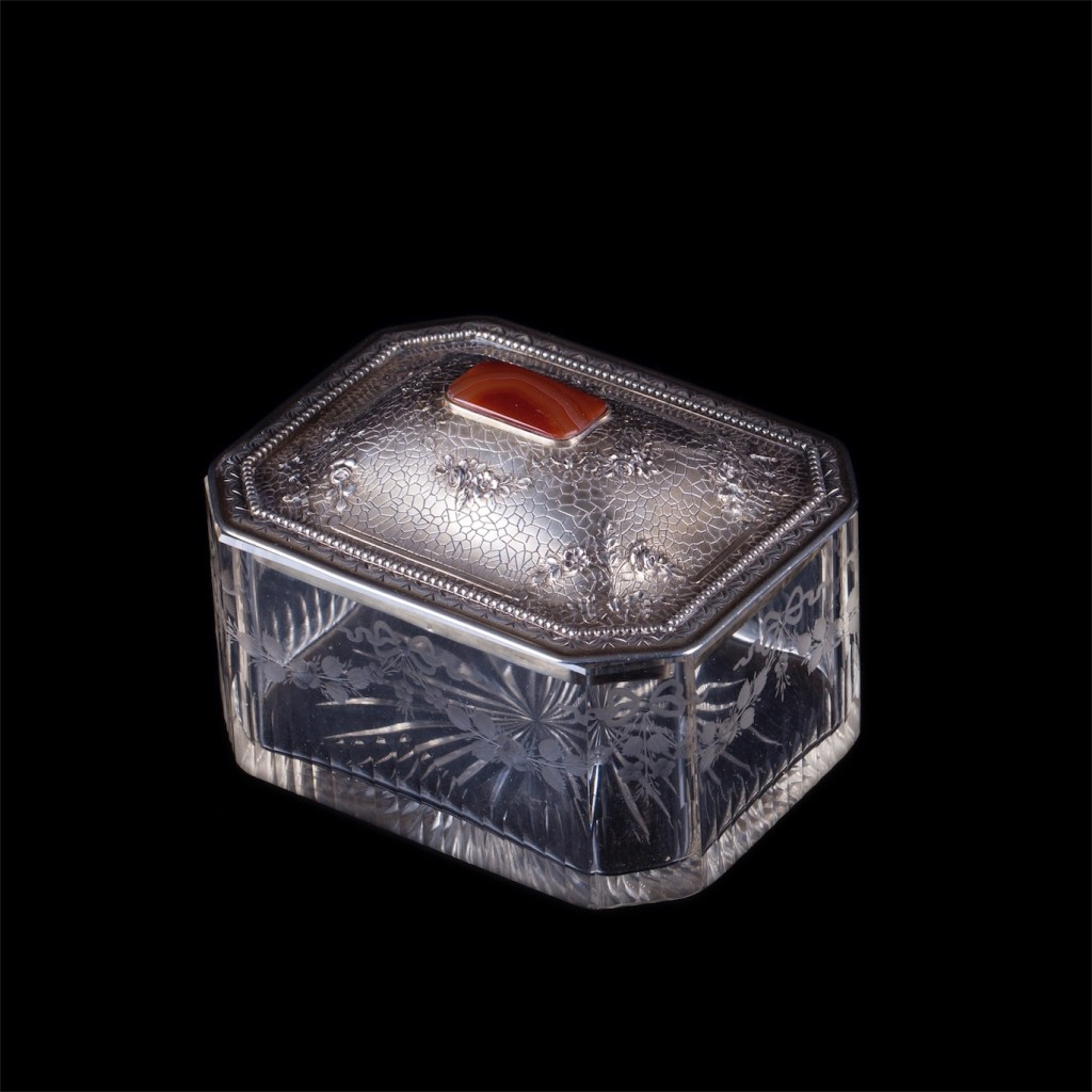 Antique silver mounted glass jewelry box with cornelian stone