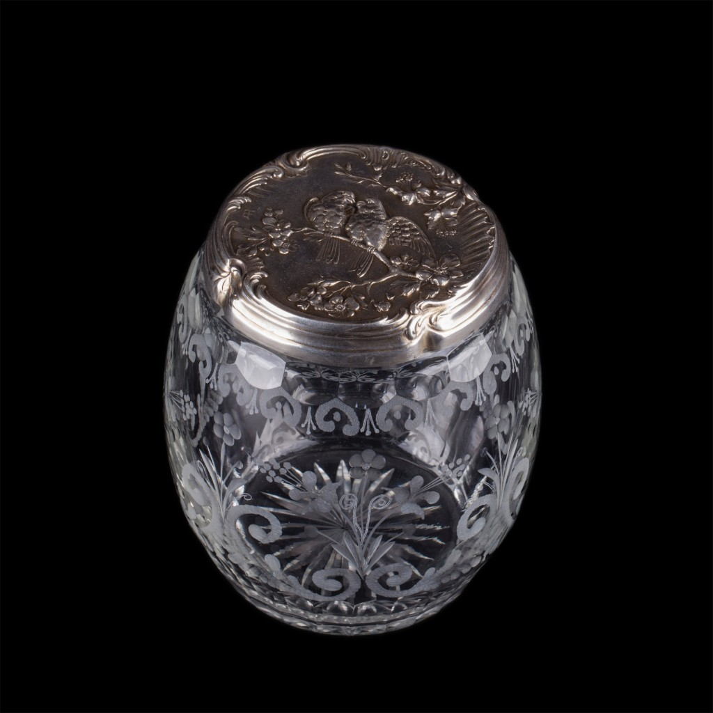 Antique French glass box with a silver top cover