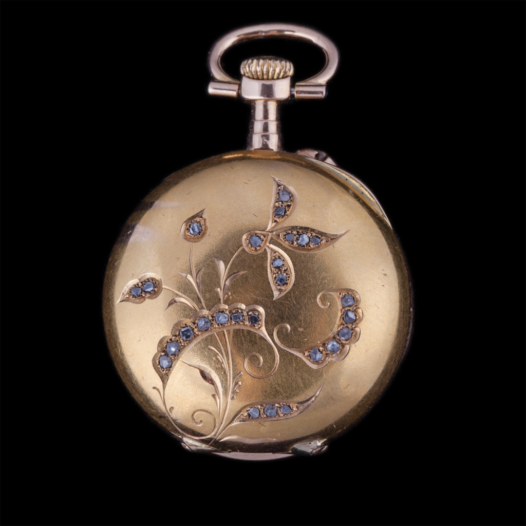 Gold Open Face Pocket Watch with Jewels