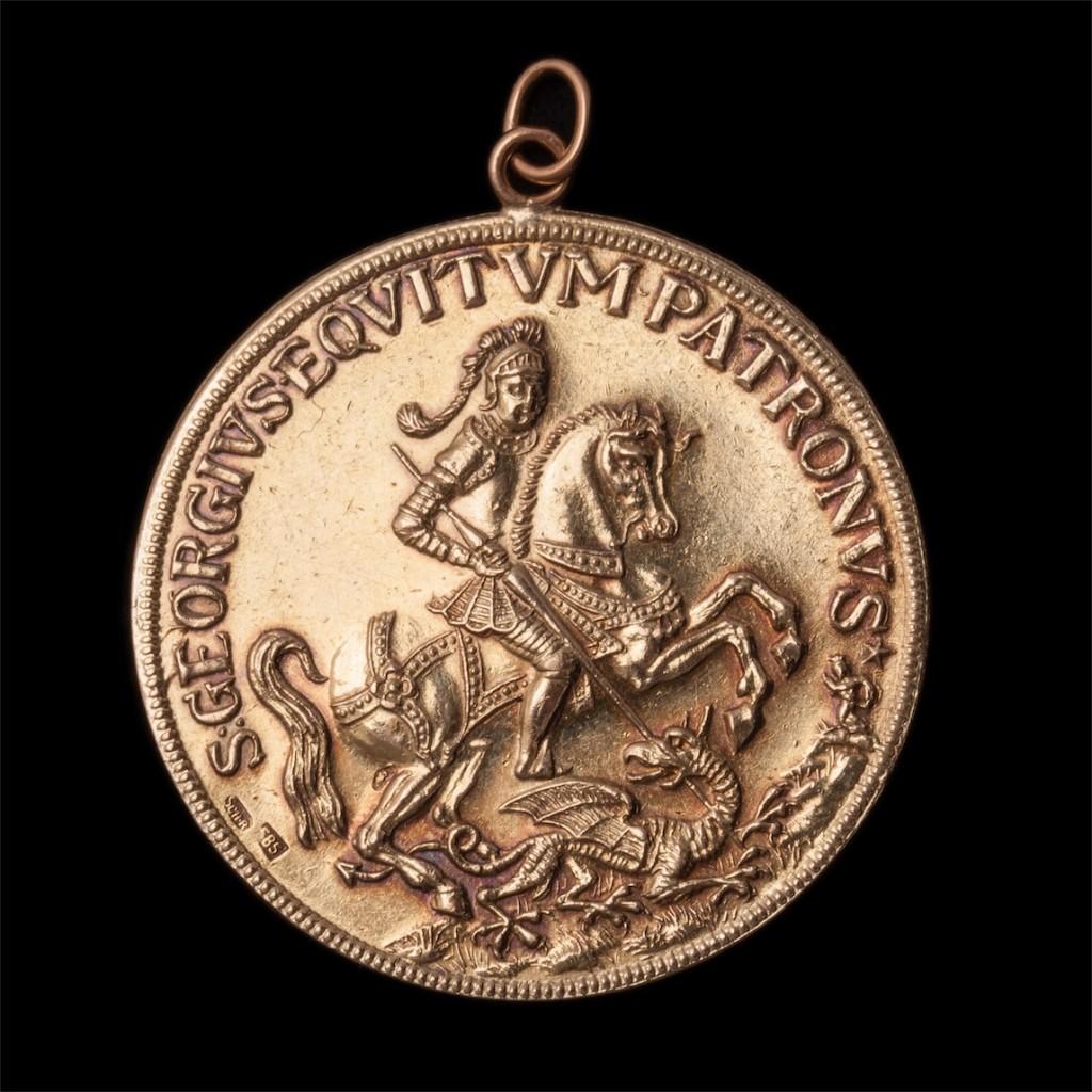 14K gold St George piligrim medaillon