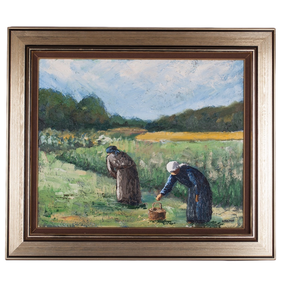 "Painting ""The Flax Harvest is about to Start"", Size without frame: 50 x 62 cm, oil on canvas. Boris Ninemäe (Niinemäe 1925-1991)."