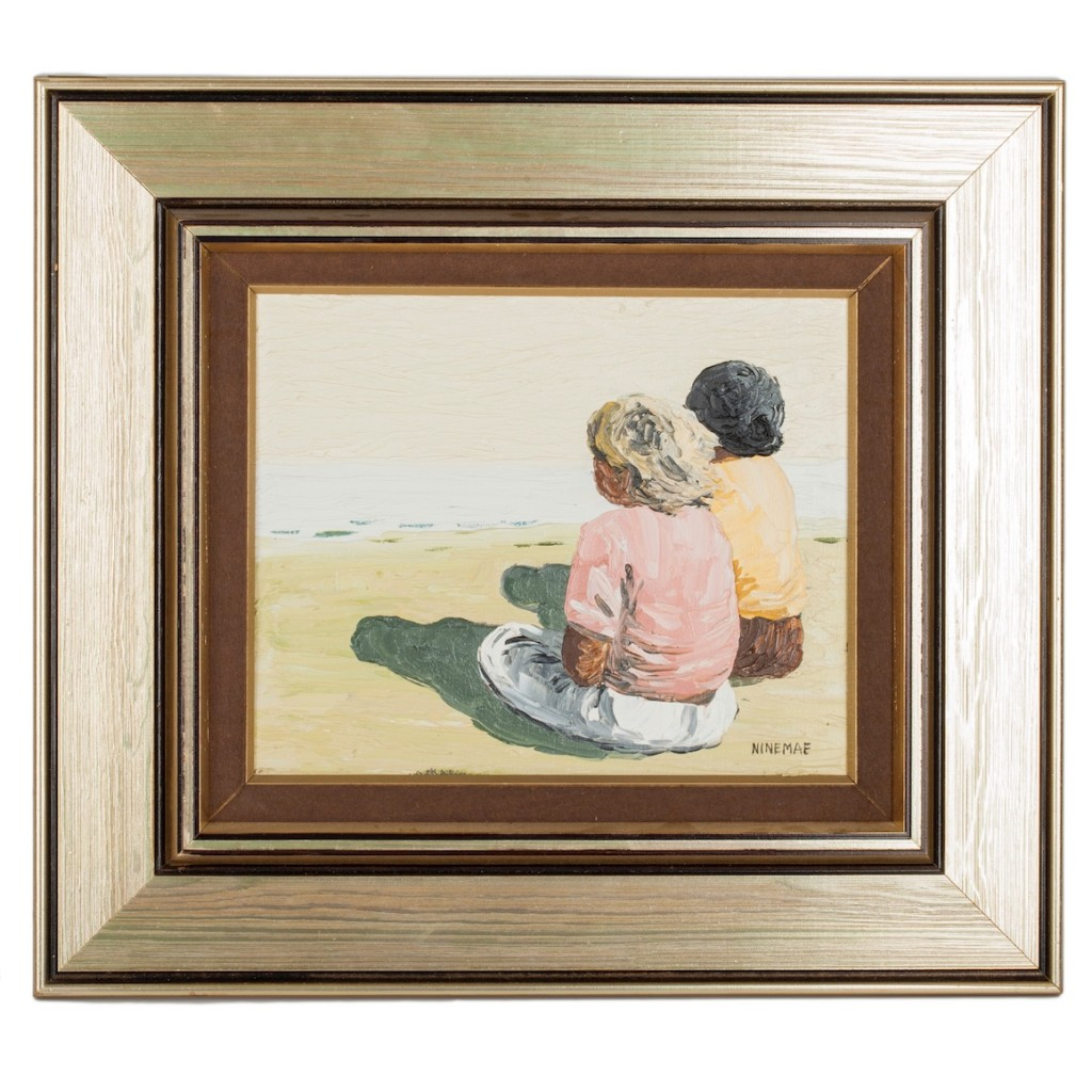 "Painting ""The Children and the Sea"", Size without frame: 22 x 27 cm, oil on canvas. Painter- Boris Ninemäe (Niinemäe 1925-1991)."