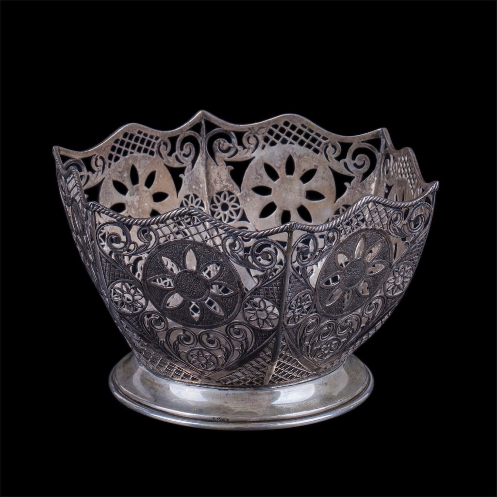 Antique silver candy dish