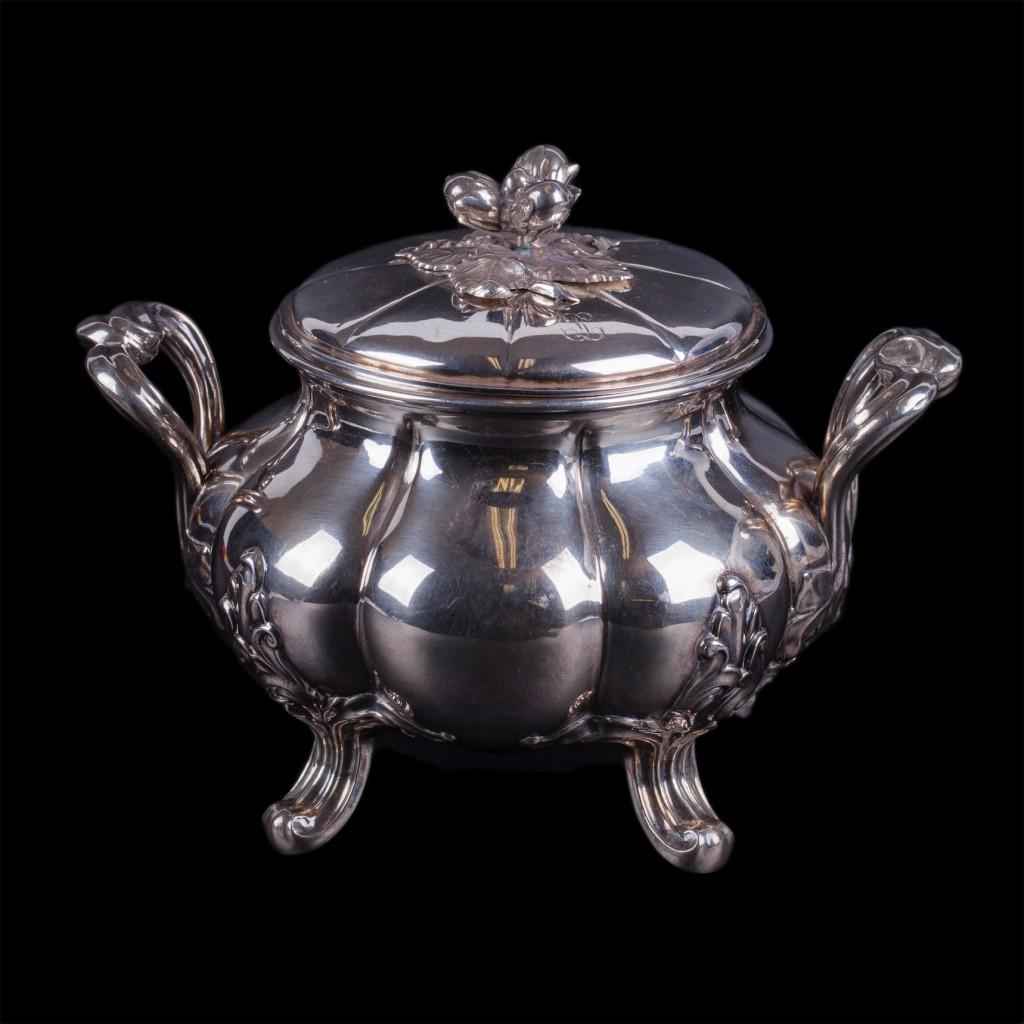 Elegant French silver sugar bowl. Marked Alphonse Debain