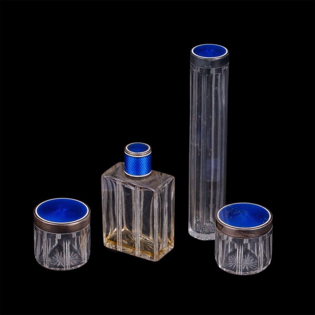 Antique perfume set of 4 glass pieces. France
