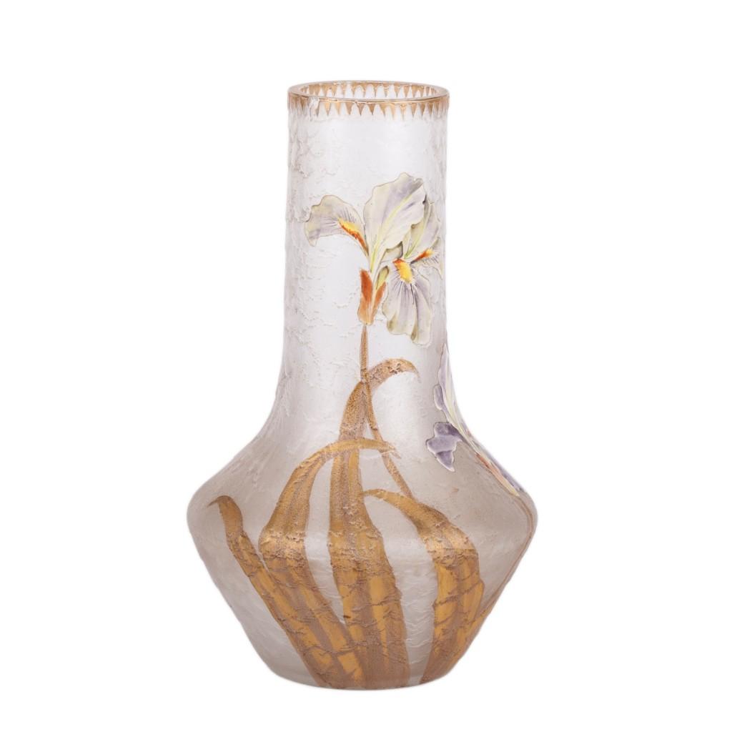 Mont Joy enameled glass vase in Art Nouveau style.