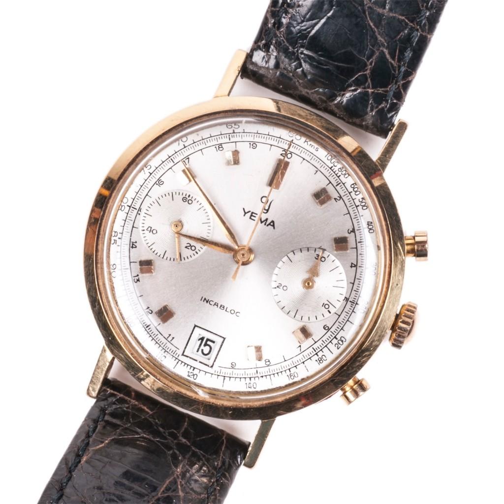 Yema 18K Gold Chronograph Wrist Watch with Calendar