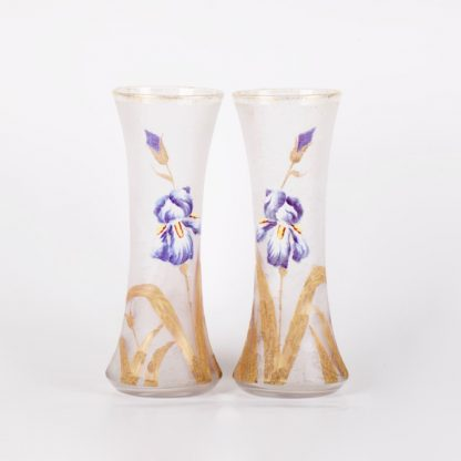 Pair of beautiful vases with iris enamel flower. French. Painting, enamel, glass.