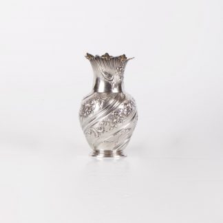 "Antique French silver small vase with flower engraved motives. ""L. Lapar "", Paris."