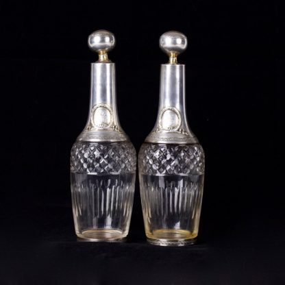 Antique French pair of carafe. Silver, Minerva, glass.