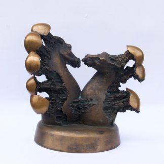 "Rare Latvian Bronze Sculpture ""Horse Lovers"""