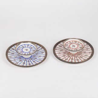 Pair of French Porcelain and silver mounted serving plates