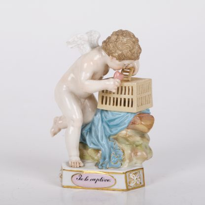Antique MEISSEN Caged Captured Heart TE LE CAPTIVE Cupid Putti Figure