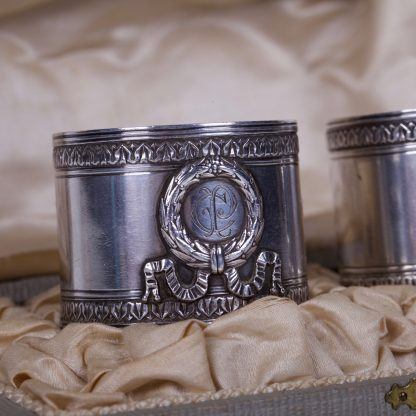 Pair Of Antique Napkin Silver Rings in Original Box