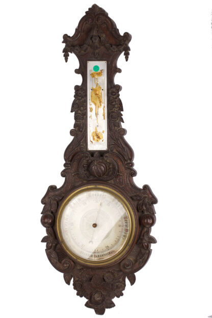 Huge vintage wooden ornate barometer